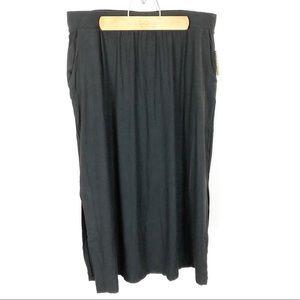 (Q-18) Terra & Sky Black Maxi Skirt Size 0X 14W